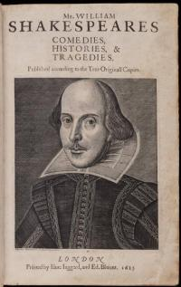 """Naslovnica """"first folio"""" izdanja Shakespeareovih djela"""